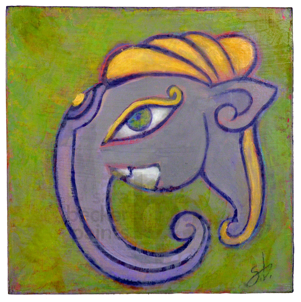 ganesha head 10x10 acrylic on wood [17]