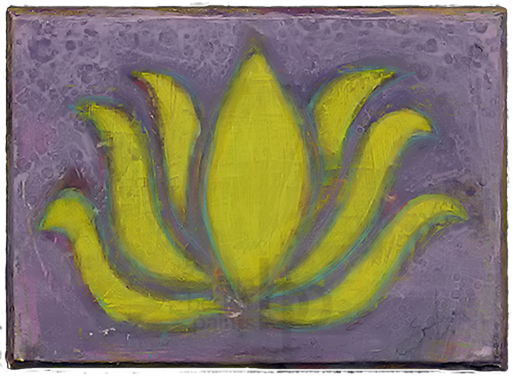 lotus {v10} 5x7 acrylic on wood [10]