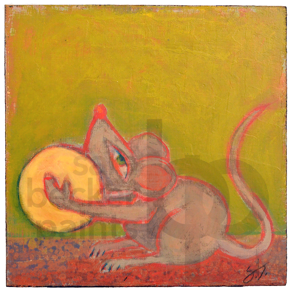 ganesha's mouse 10x10 acrylic on wood [19]
