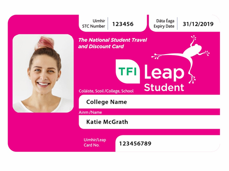 Get the new pink student leap card for 2018/2019