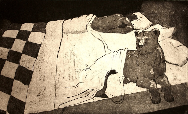 Animal in Bed, 2012. Metal etching on paper.