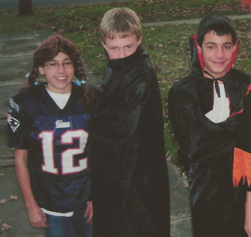 A young FruitVibe team Halloween circa 2008. Austin as the female Tom (Tina) Brady, James & Sam both sporting the vampire.