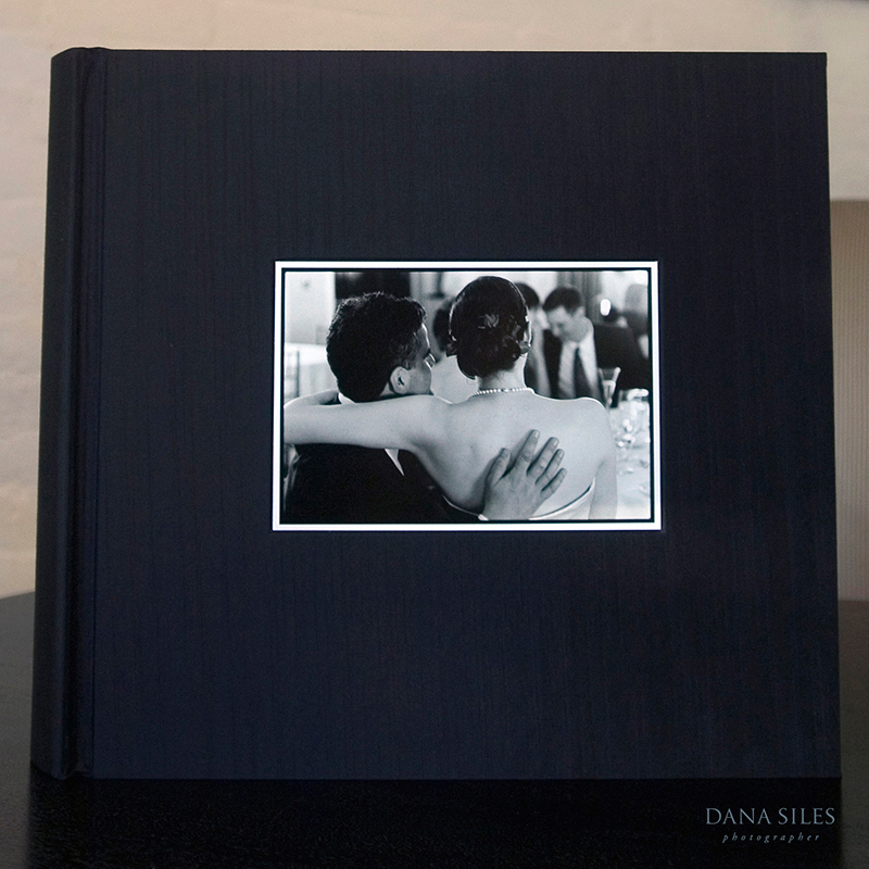 Custom Album. Black silk. Size 13x14. Black and white border cover photo.