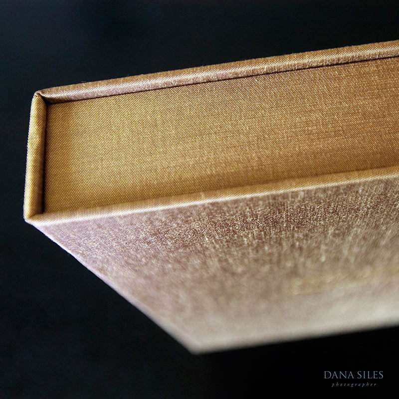 Clamshell box inside matching slipcase. Gold silk.