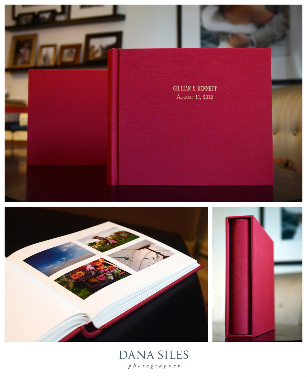 Gillian & Bennett's Custom Album & Slipcase. Burgundy silk. Size 12x14. Gold text engraved onto cover.