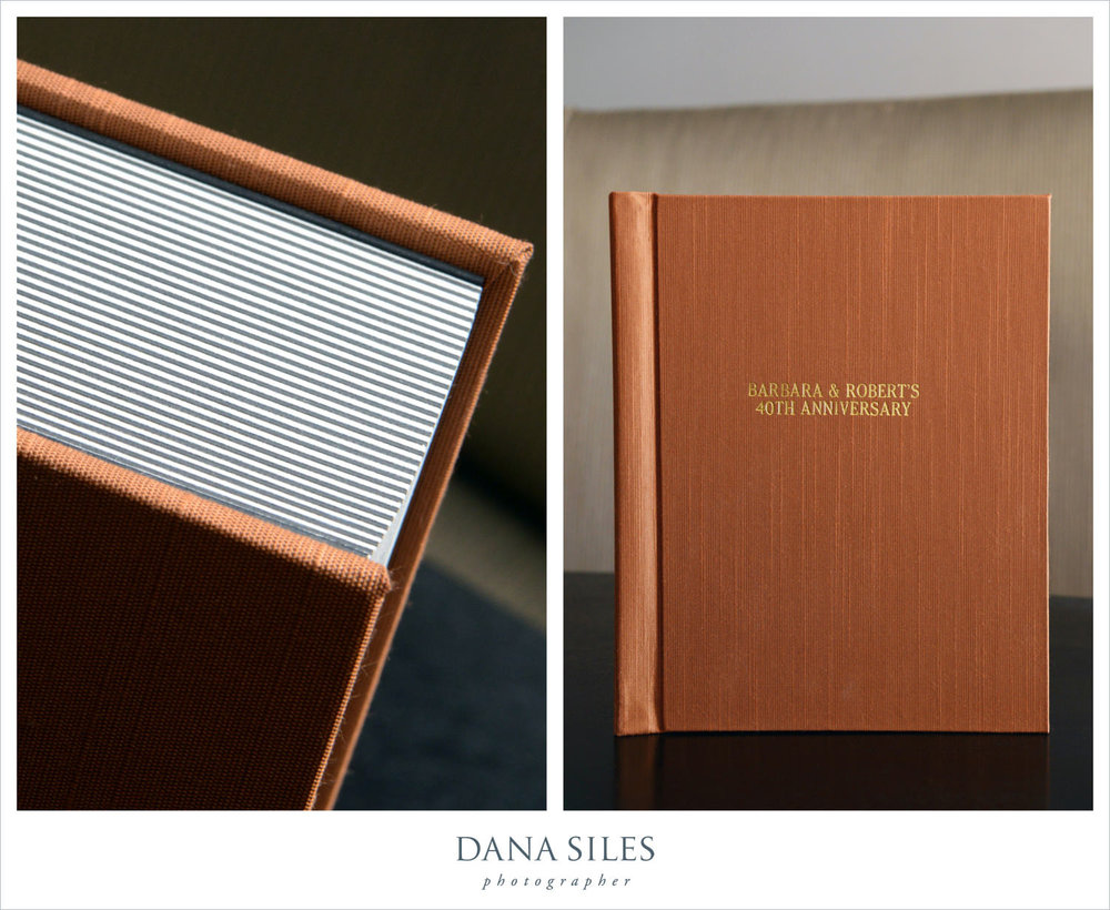 Barbara & Robert's Fine Art Anniversary Album. Size 8x12. Bronze book cloth with gold text engraved onto cover.