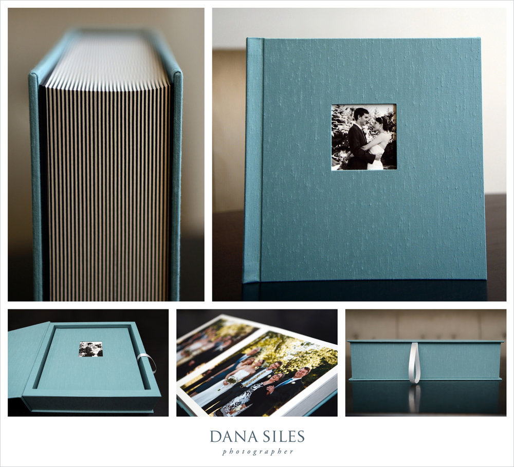 Julie & Silas' Fine Art Wedding Album and box. Size 12x12. Teal book cloth with cover photo.