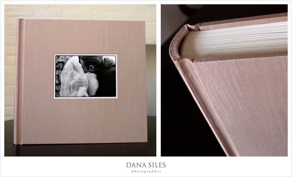 Jane & Mike's Custom Wedding Album. Pale Taupe silk book cloth. Size 12x12.5. B/W cover photo.