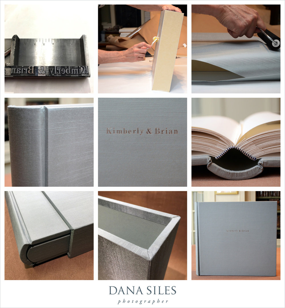 Kimberly & Brian's Custom Wedding Album & Slipcase, in progress. Size 12x13. Blue-grey silk. Silver text engraved onto cover.