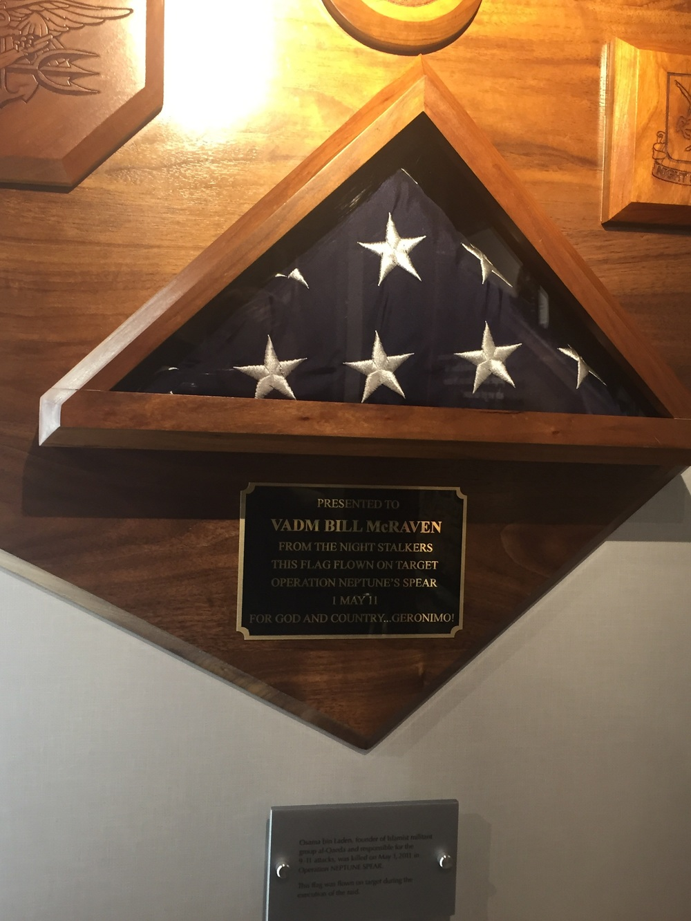 """On board the Arlington, the flag that was flown over operation """"Neptune Spear,"""" the raid by US forces and the mission that took out Osama. Chilling..."""