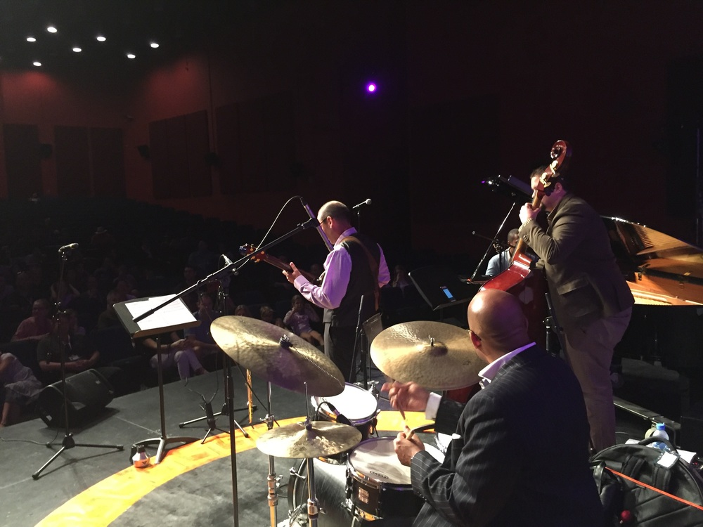 Trading choruses with the drummer from Jazz at Lincoln Center Doha, old school style! I would sneak up behind him to lay down time on the ride cymbal, signaling him to get up and it's my turn. So fun!