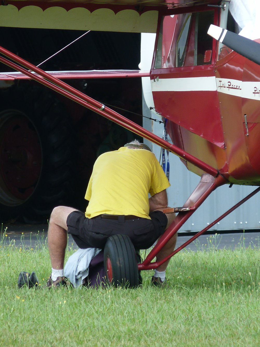 David Inspecting His Brakes