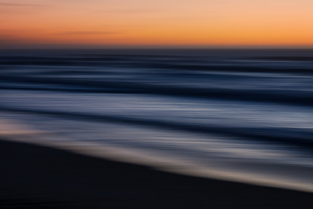 Canon EF70-200mm f/2.8L IS II USM, ISO 500, 70 mm, f/8.0, 1/8 sec. Ocean waves at dusk (California). Sideways pan. Polarizer.