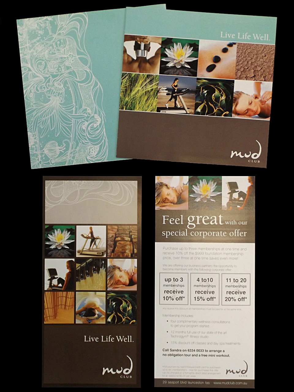 MUD CLUB -Brochures, photo styling, collaterals, gift vouchers and advertising.