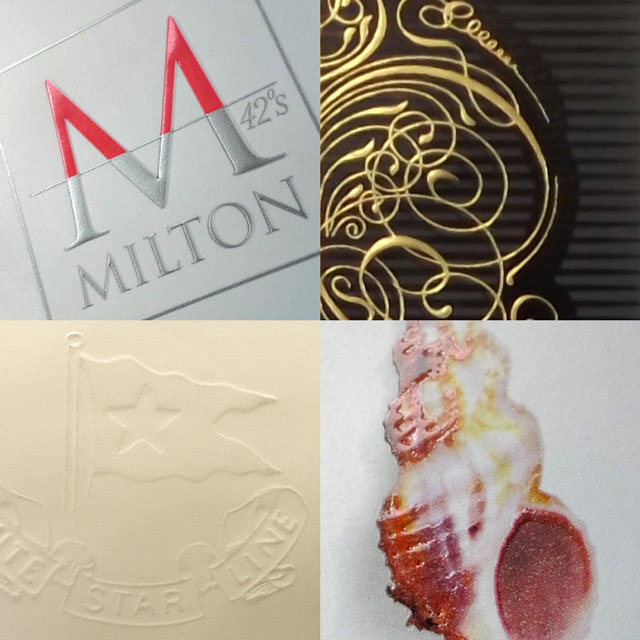 Some of the printing embellishments available include (clockwise from top left).  1. Spot PMS and Metallic Inks. 2.  Hot Foil stamping.  3. Spot Gloss Varnishing.  4. Blind Embossing.
