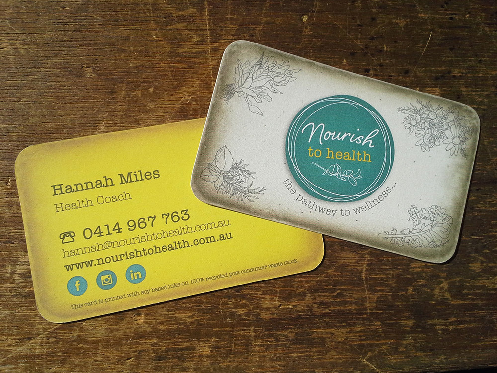 NOURISH TO HEALTH - Eco quality Business Cards. Printed with soy based inks on 100% recycled post consumer waste stock.