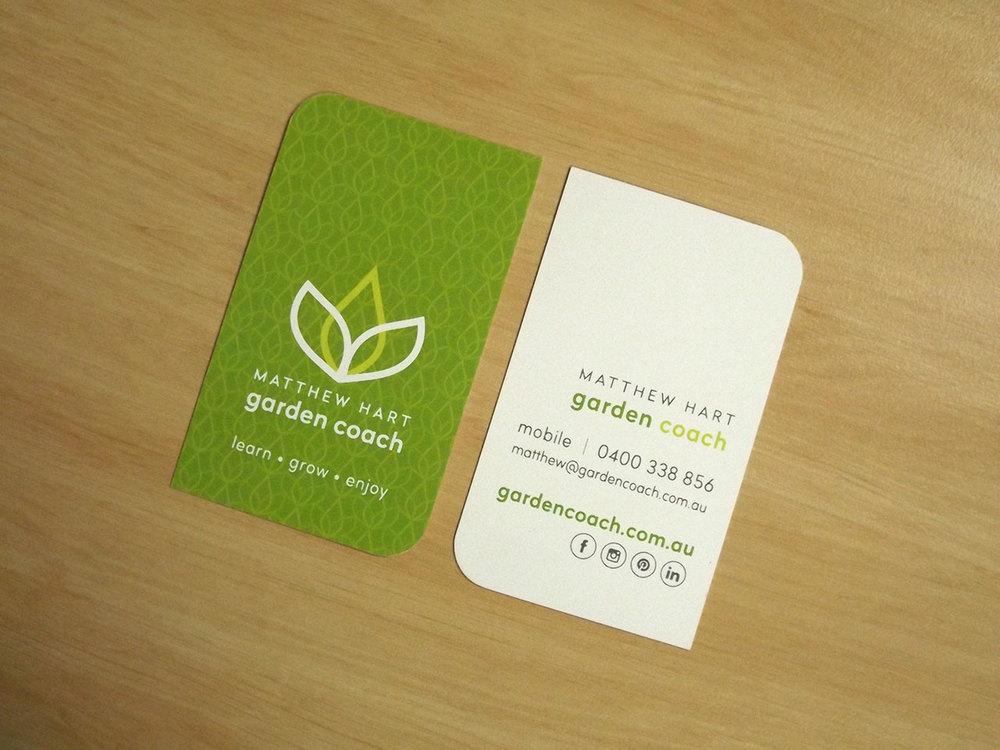 Identity design branding packages morrison design bespoke matthew hart garden coach diecut business card design geelong reheart Choice Image