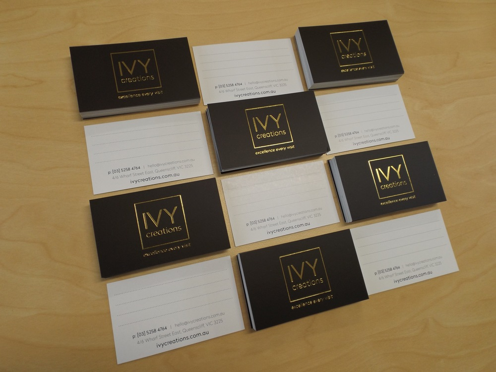 IVY CREATIONS - Rebranding. Salon Appointment Business Card Design. Morrison Design, Graphic Design and Branding Agency Geelong, Melbourne, VIC.
