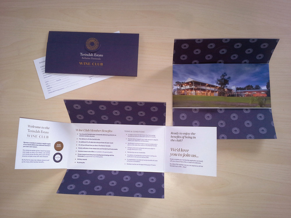 TERINDAH ESTATE WINERY: Wine Club Branding and Membership Invitation Pocket design.