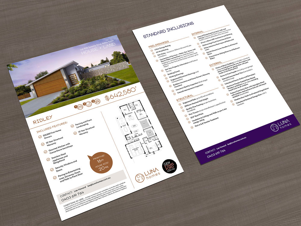 LUNA HOMES - Flyers & Marketing Collaterals
