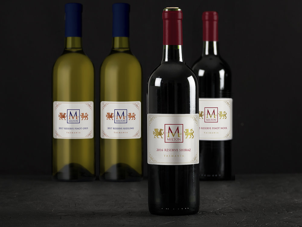 MILTON RESERVE - Branding, illustration, wine label packaging design design.