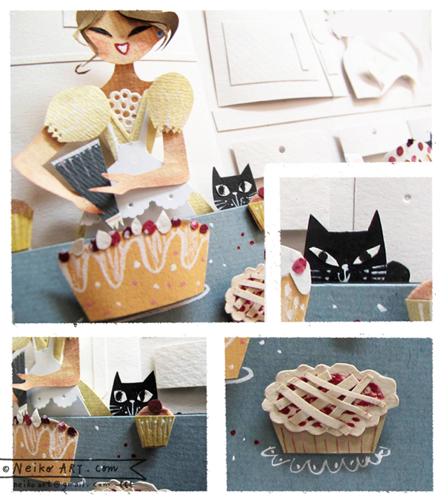 bakery girl - papercut - personal work -© neiko ng
