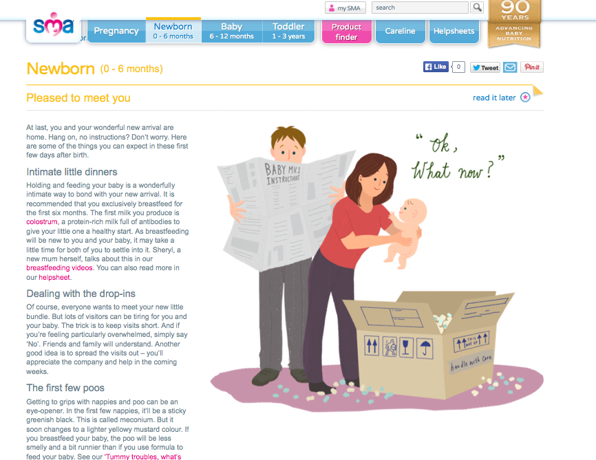 illustration for SMA baby formula UK.  > http://www.smamums.co.uk/