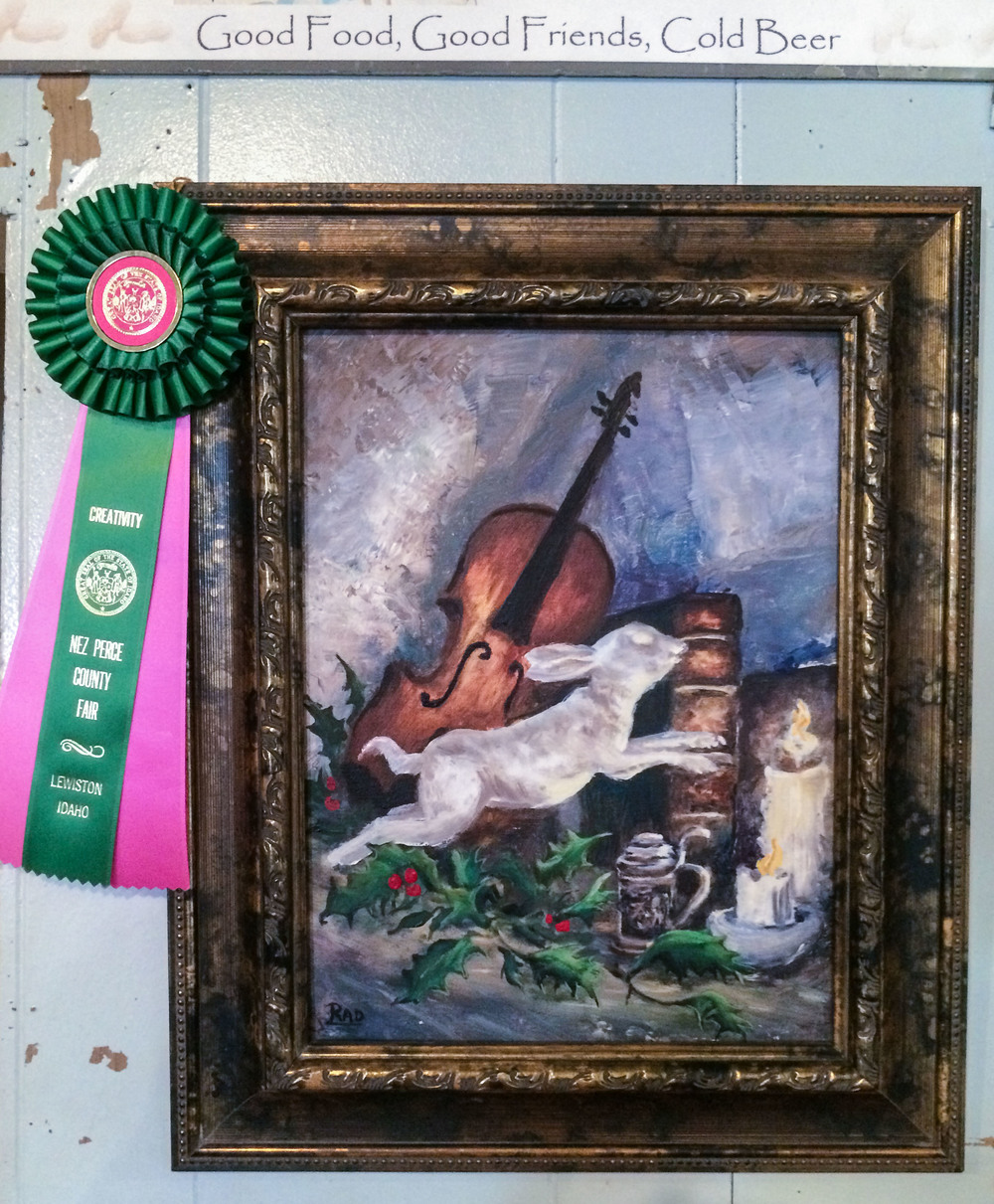 One of the many pieces on the wall in Keuterville. Award winning at the Nez Pierce County Fair!