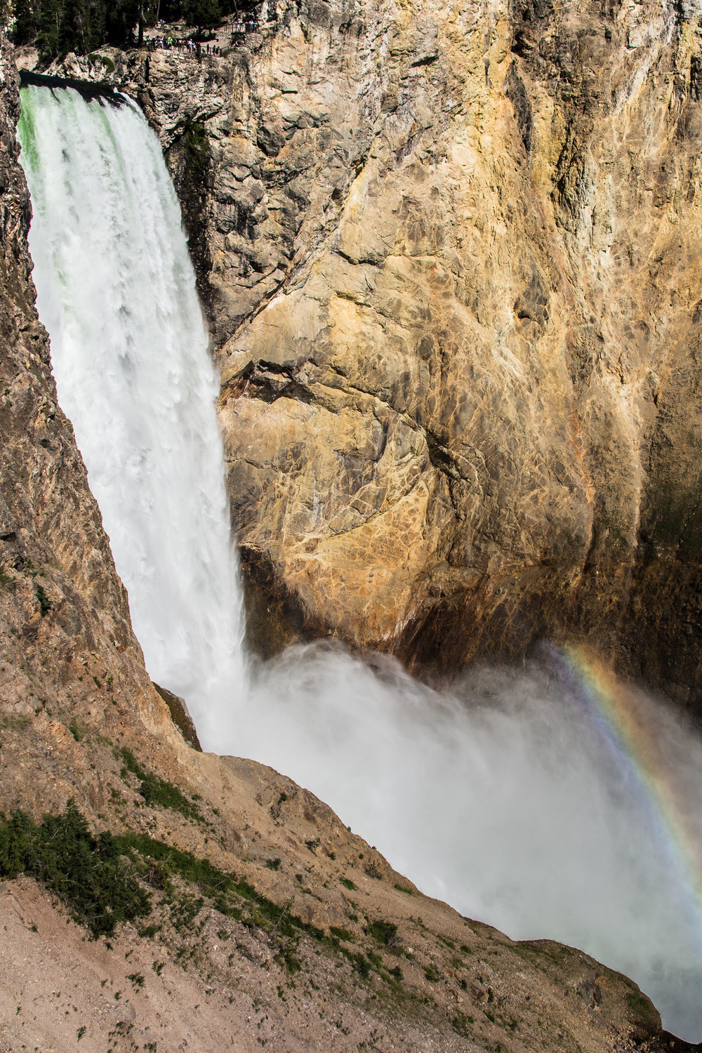 A little bit of rainbow action at the bottom of Lower Falls, South Rim, Canyon, Yellowstone N.P.