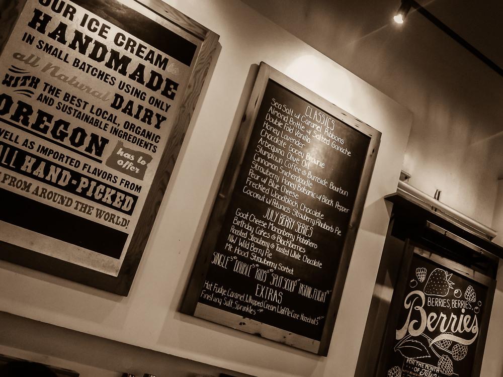 Menu boards at Salt & Straw, Portland, OR. Yes, please.