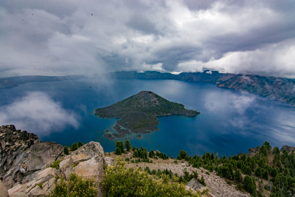 The view from Watchman's Fire Lookout, Crate Lake N.P. just before the rain came.