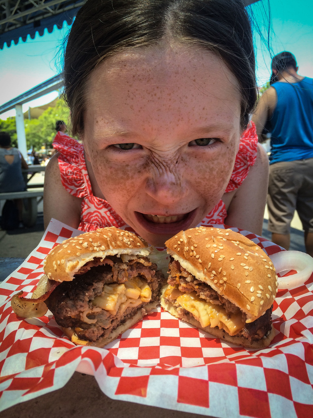 Don't mess with MK when she has a deep fried mac and cheese stuffed bacon cheeseburger!