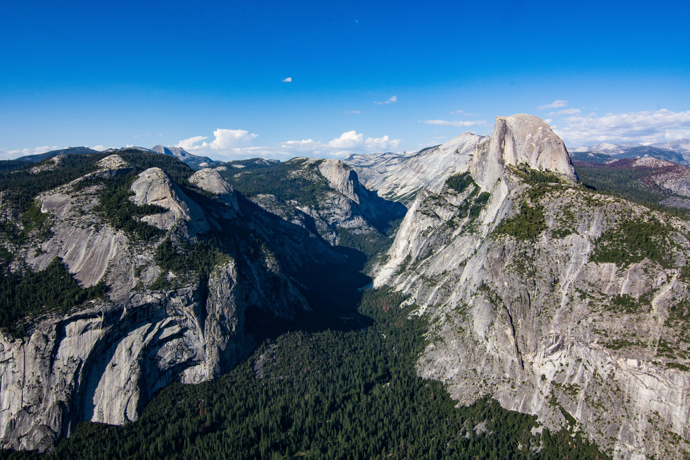 A wider view of The Valley below Half Dome from Glacier Point.