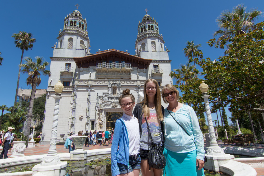My ladies outside the front door at Hearst Castle, San Simeon, CA.