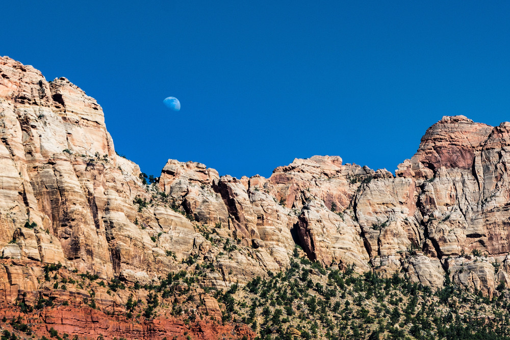 Afternoon moon over the Zion peaks, view from our hotel in Springdale.