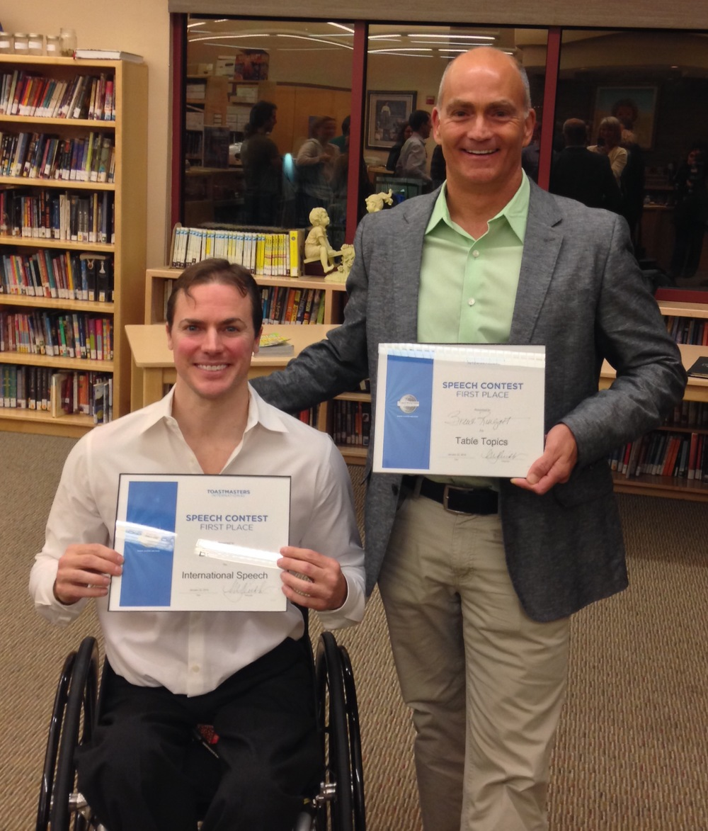 2015 Club speech contest winnerBen Collins (left), and table topic winnerBrent Ringoot (right)