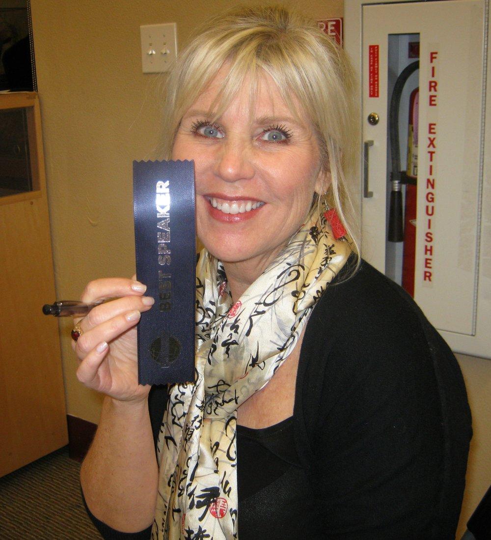 Terrie with Best Speaker Ribbon.jpg