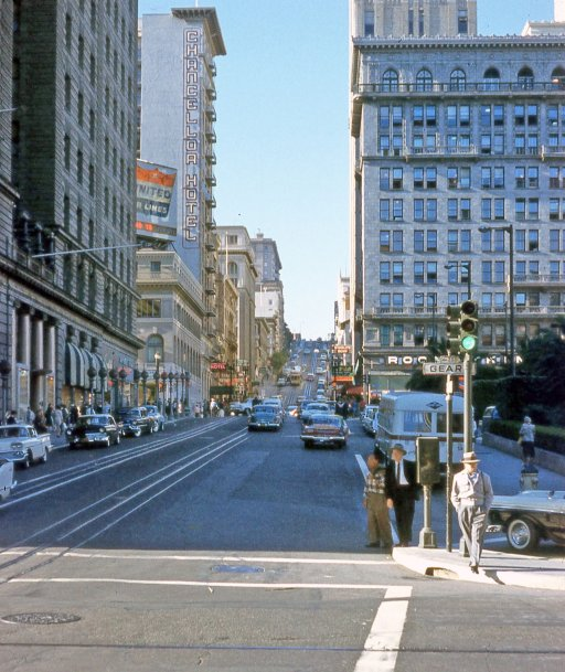1963, Union Square, cool picture looking up Powell Street