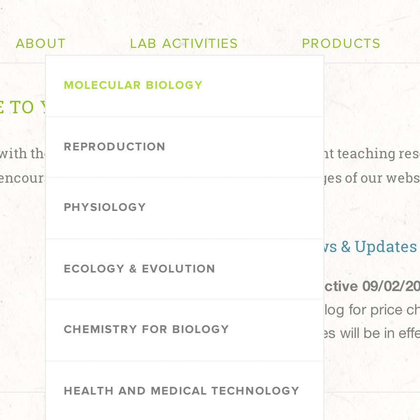 Find lab activities and products by category