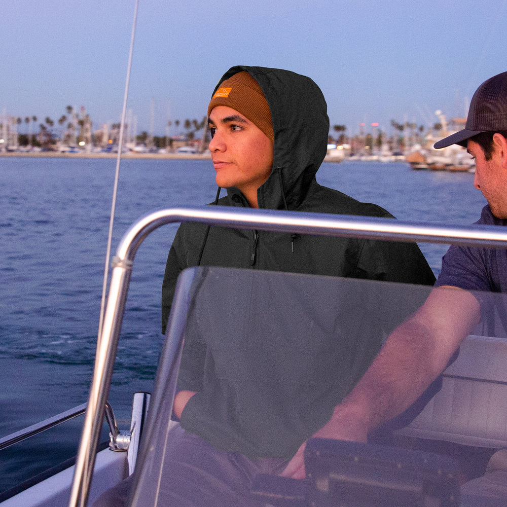 Eye shielding hood and scuba neck keeps the sunburn away and water out. -