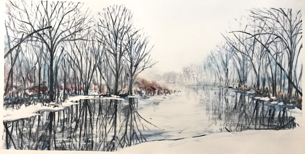 "Moscow Swamp 2 watercolour monotype 48""x36"""
