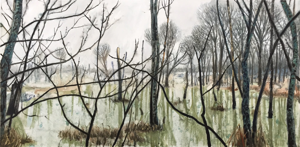 "Bell Rock Swamp 2 watercolour monotype 48""x36"""