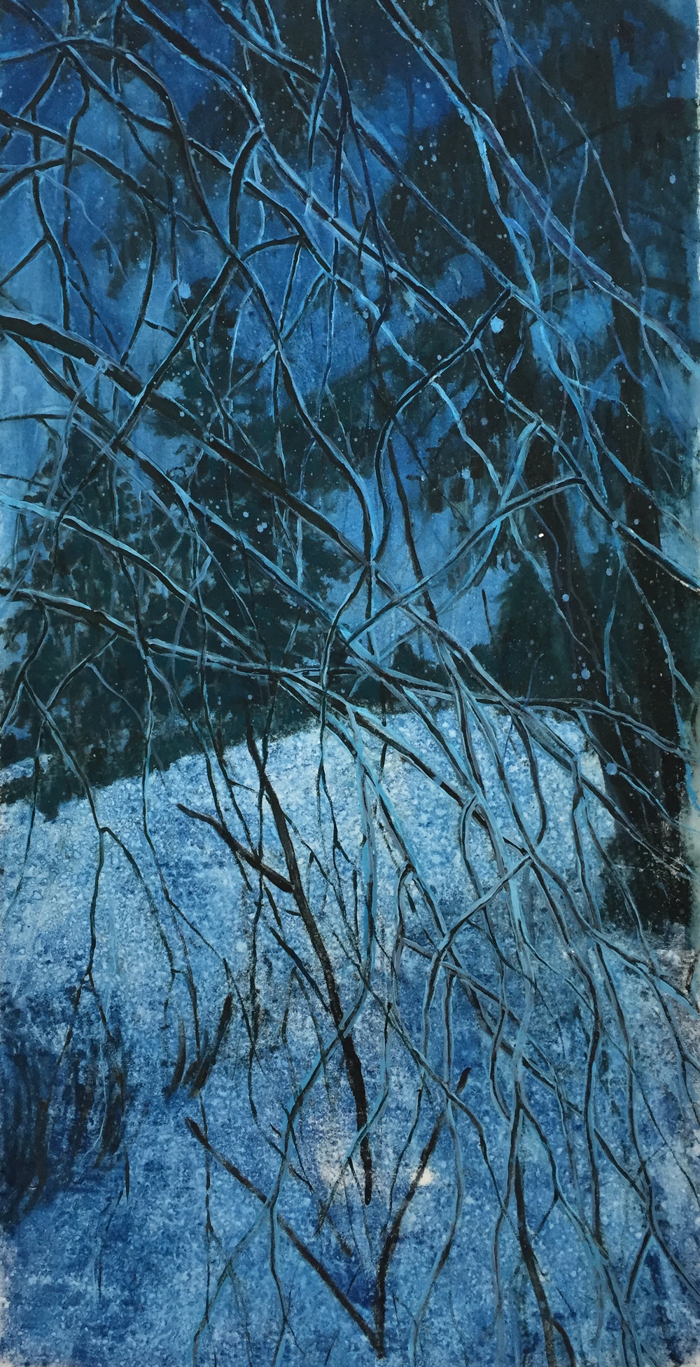 "Winter Night Scene watercolour monotype 36""x48"""