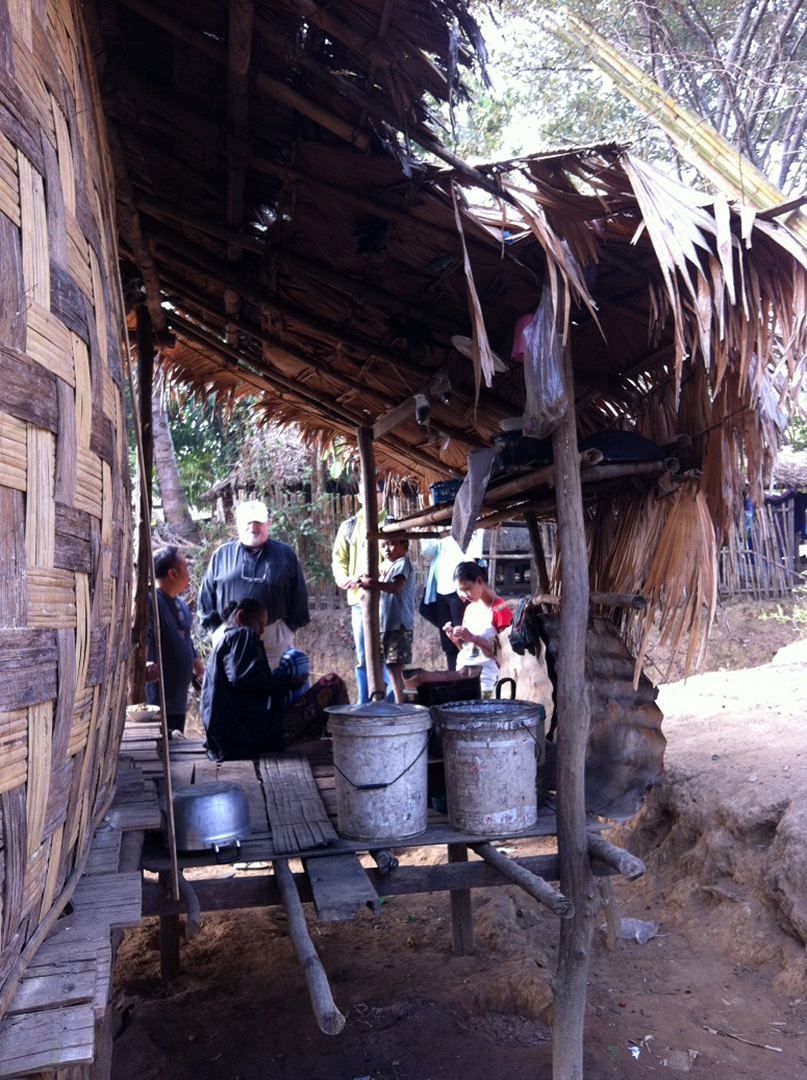 A typical kitchen and water storage section of a local house (Ban Mai community)