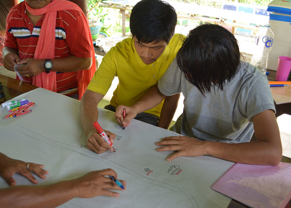 Participants drawing the locations of the houses in the community map.