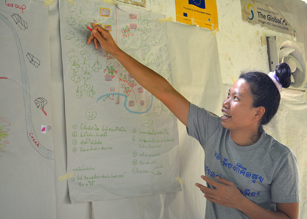 Piyawan presenting her group's mapping, while highlighting the strengths and weaknesses of the current practice that they observed during the field trip.