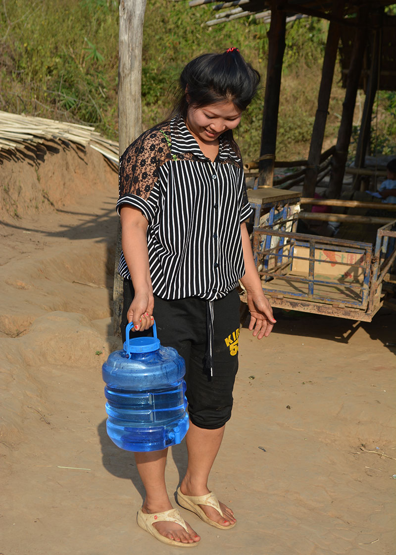 A woman showed us the drinking water that she'd made with SODIS X that day. We provided the families with containers specifically for drinking water.