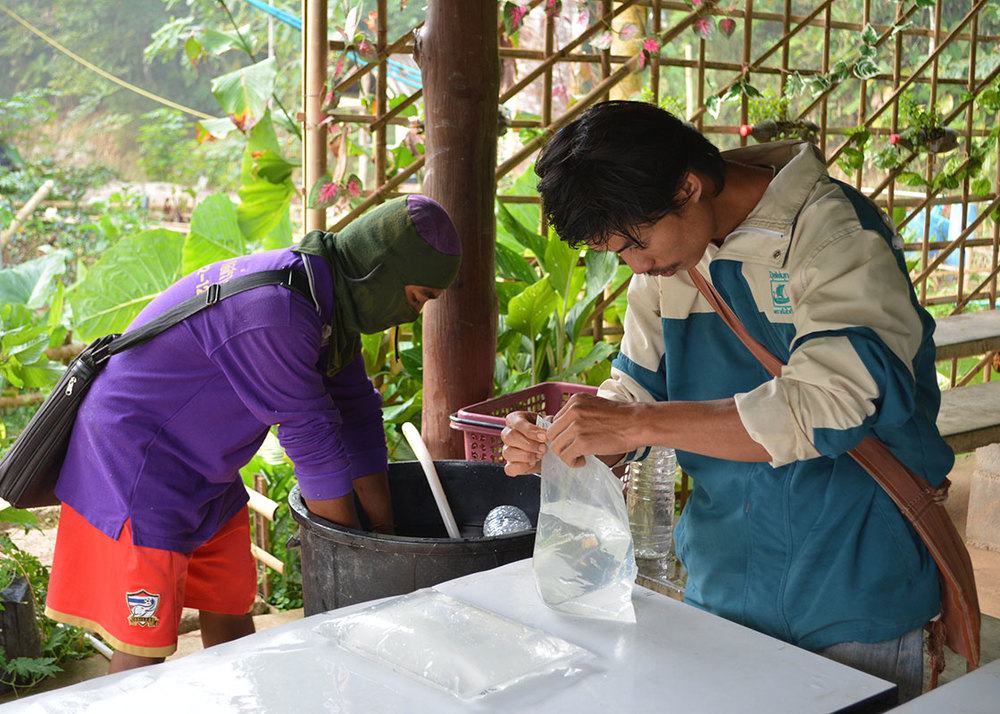 Daeng and Taedee prepared prototypes for the disinfection and material-safety studies in a chilly winter morning.