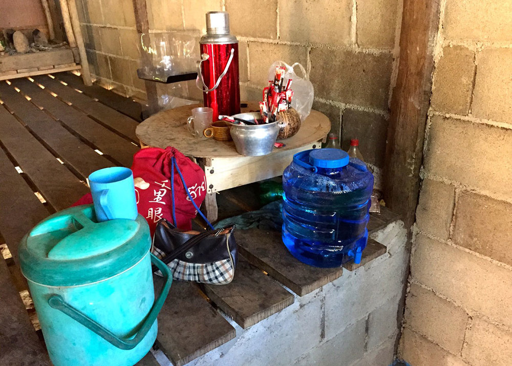 The container of disinfected water was kept in the area of coffee and tea in this Moraka household.
