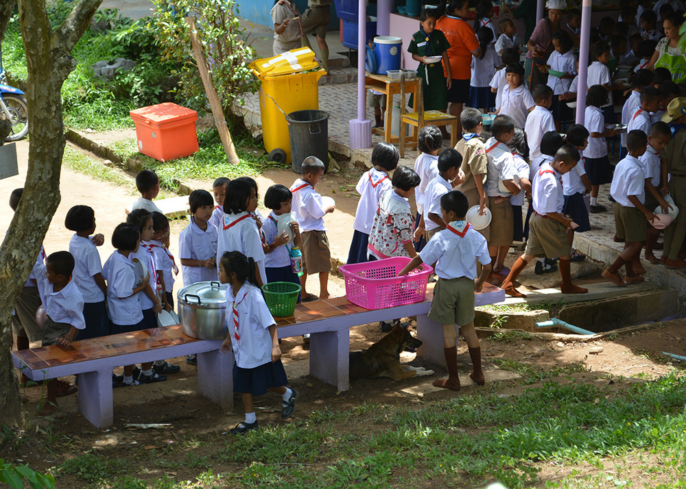 Students queuing up for lunch